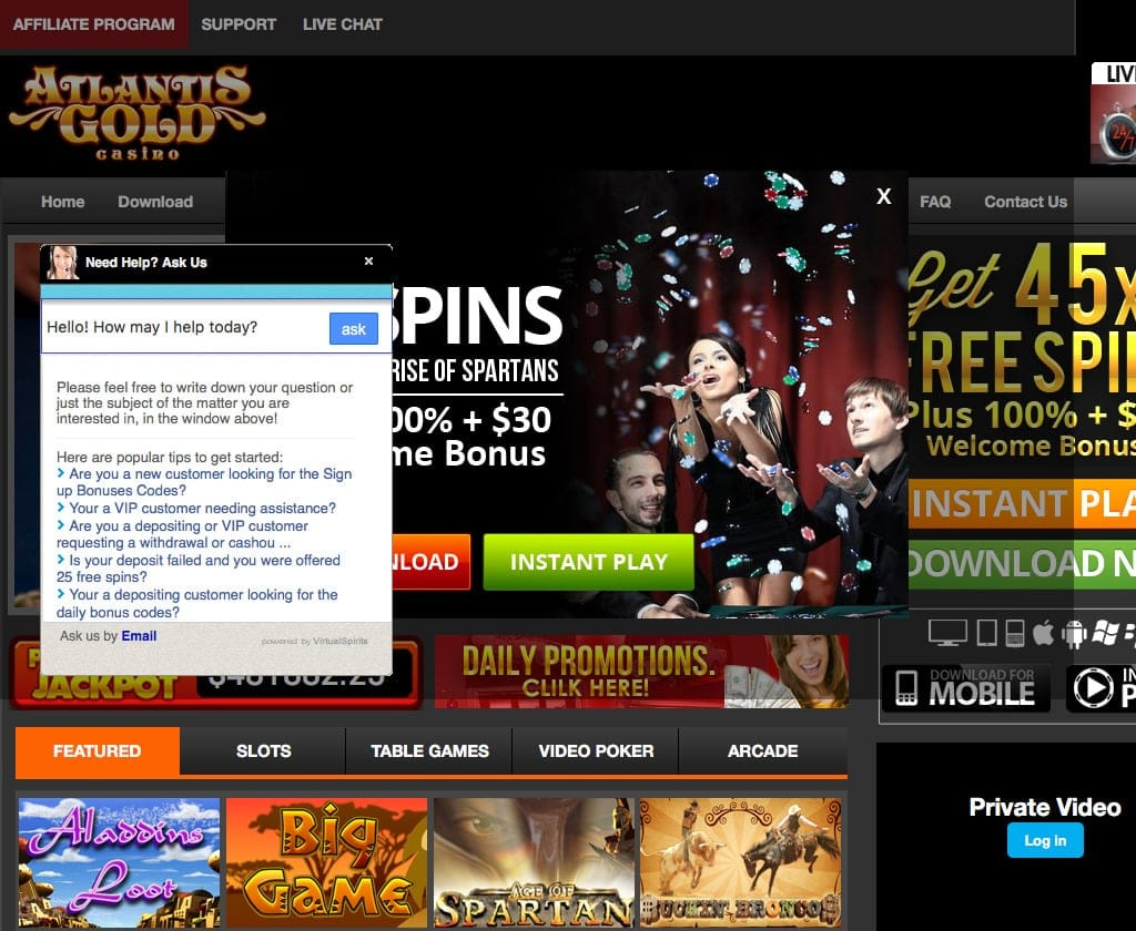 free spins for atlantis gold casino